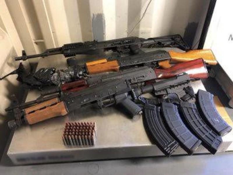 Decomisan armas de contrabando antes de cruzar a México