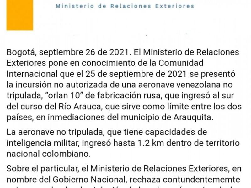 Denuncia Colombia invasión de su espacio aéreo
