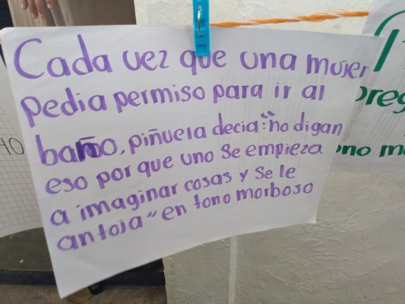 Denuncian a maestros del COBACH 01 en tendedero del acoso