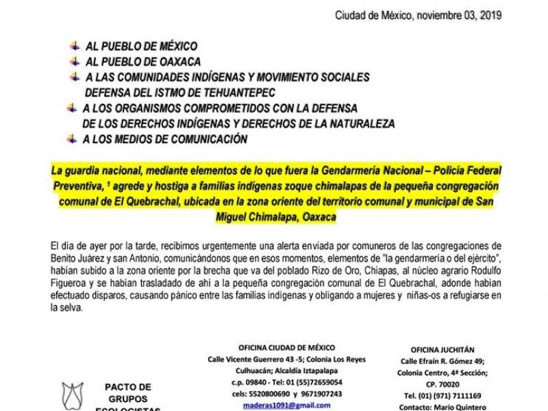 Denuncian agresión de PF en San Miguel Chimalapas