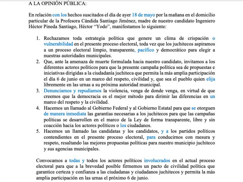 Denuncian amenazas en contra de madre del candidato de Morena