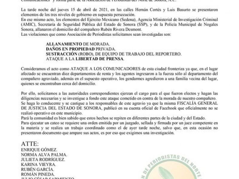 Denuncian APNS de Sonora, acto de agresión a periodista nogalense