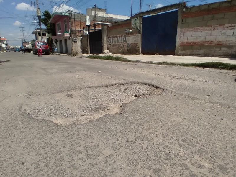 Denuncian calle repleta de baches en colonia El Salvador