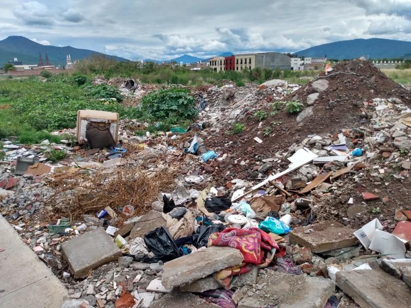 Denuncian cúmulos de basura y escombro en vialidad zamorana