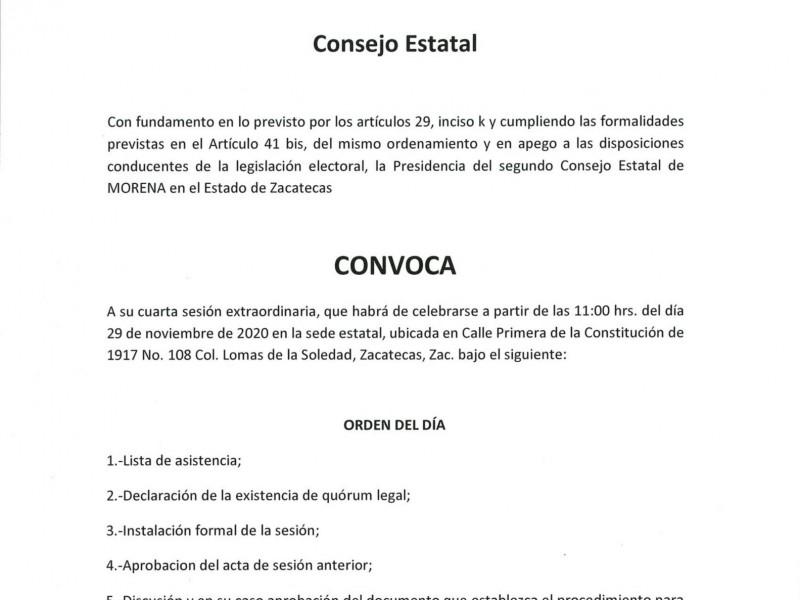 Denuncian irregularidad en  convocatoria para consejo estatal de Morena