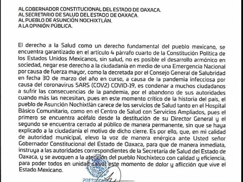 Denuncian la carencia de servicios de salud en Nochixtlán