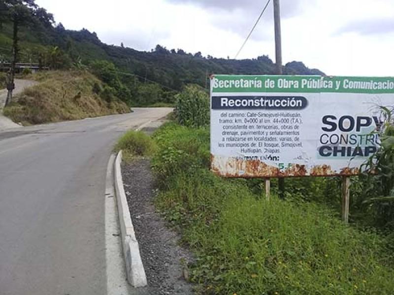 Denuncian pésimo estado de rehabilitación vía carretera Bochil-Simojovel