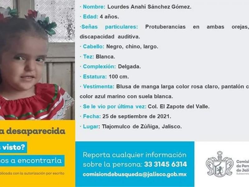 Desaparece menor de 4 años en Tlajomulco, tiene discapacidad auditiva