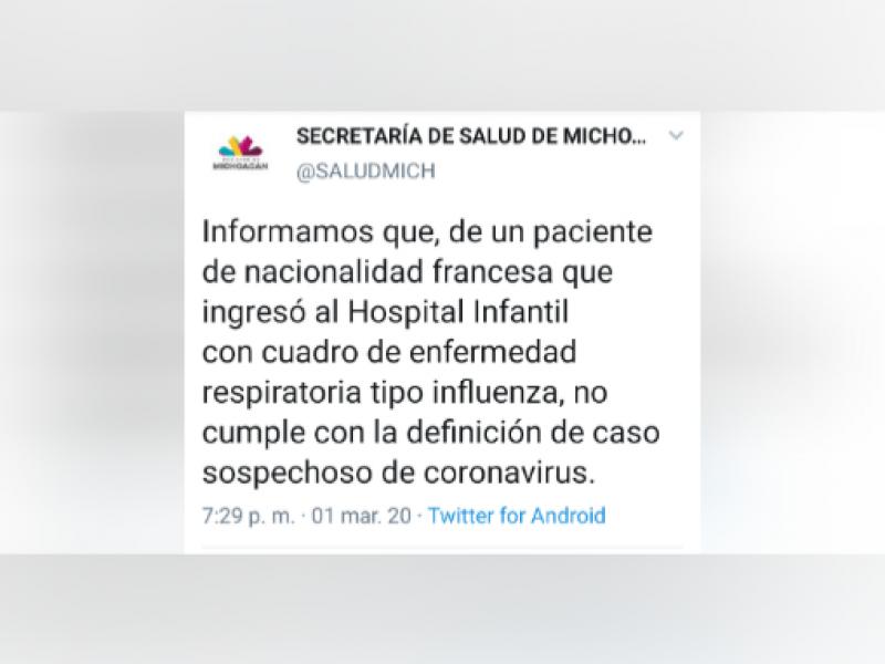 Descartan caso sospecho de Coronavirus en Michoacán