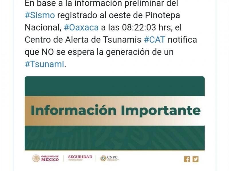 Descartan riesgo de tsunami tras sismo en Oaxaca