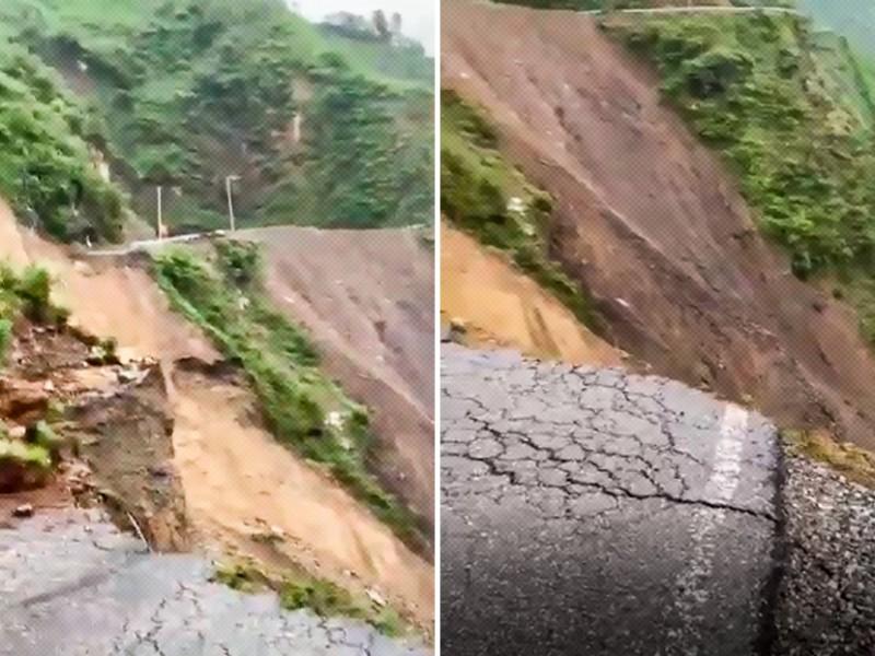 Deslizamiento de tierra arrasa con 100 metros carretera india