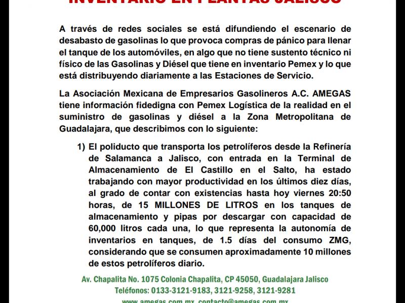 Desmiente AMEGAS desabasto de gasolina en Jalisco