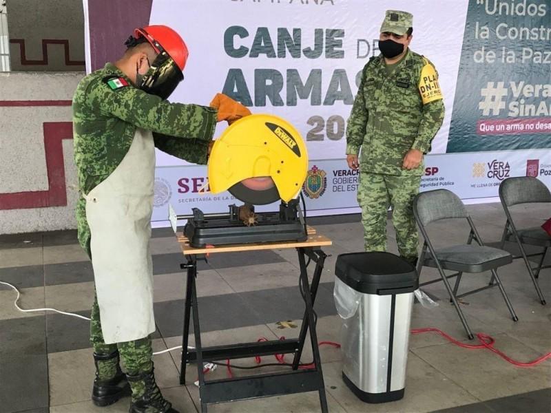 Destruyen 268 armas en Veracruz; fueron canjeadas por dinero