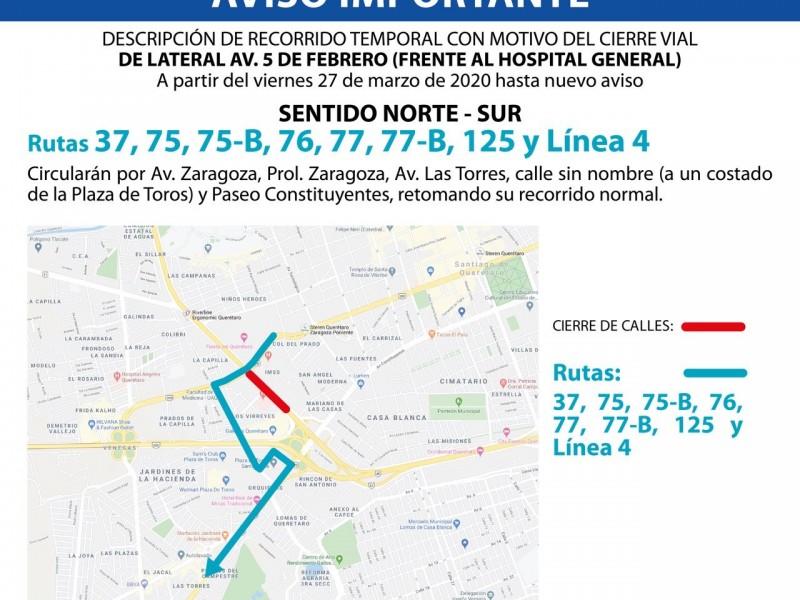 Desvío temporal de rutas de transporte en 5 de Febrero