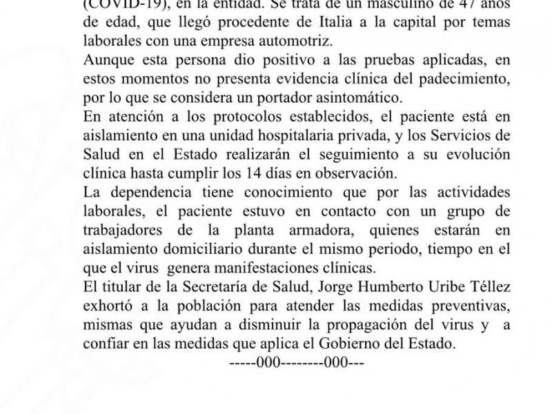 Detectan a primer infectado de Coronavirus en Puebla