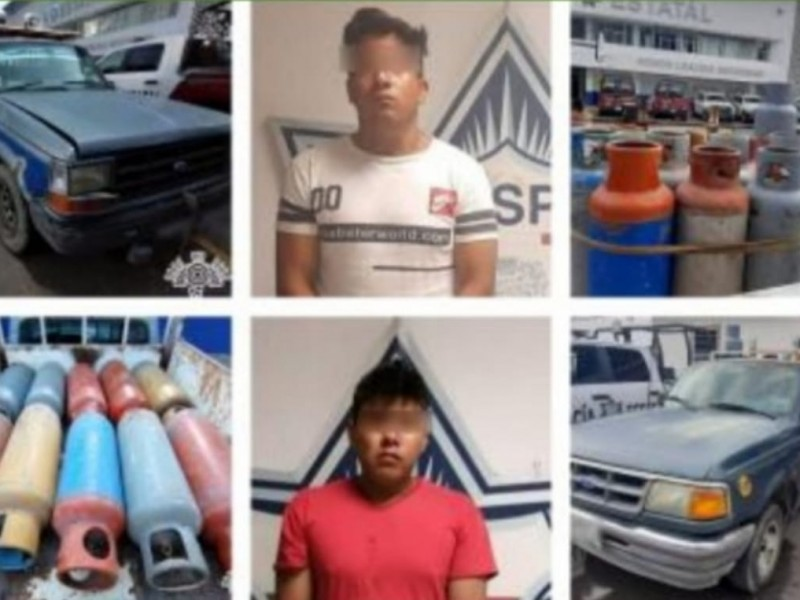 Detienen a dos sujetos con gas LP presuntamente robado