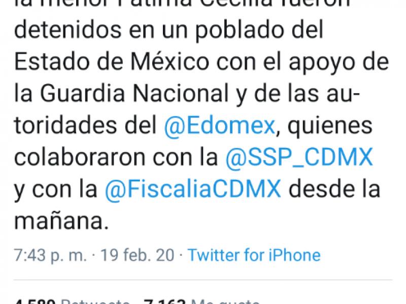 Detienen a presuntos secuestradores de #FátimaCecilia