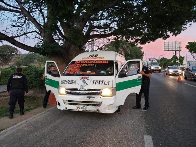 Detienen unidades de la ruta Tuxtla-Berriozábal