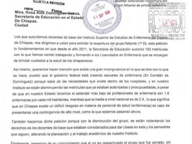 Docentes de escuela de enfermería rechazan reducción de matrículas