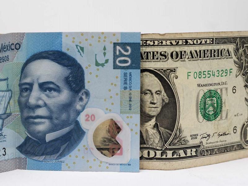 Dólar se vende en 20.08 pesos en bancos
