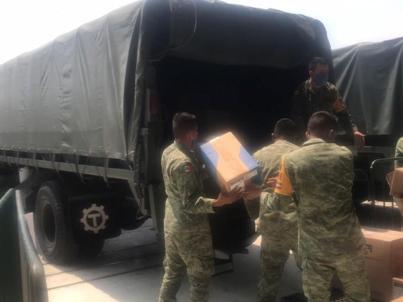 Ejército repartirá 25 toneladas de insumos médicos