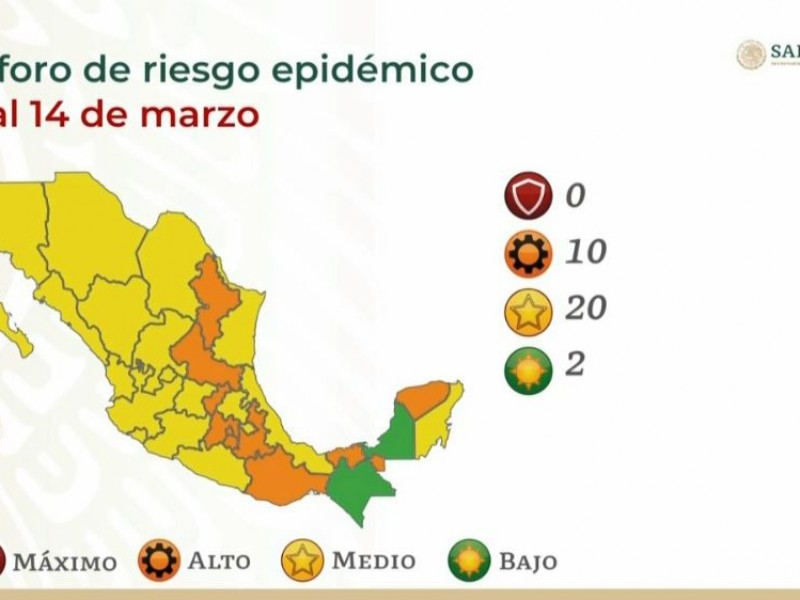 El estado de Veracruz regresa a color amarillo