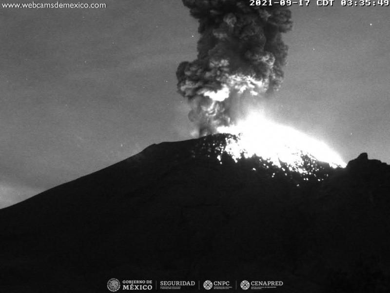 El Popocatépetl continúa registrando actividad volcánica, mantiene alerta amarilla