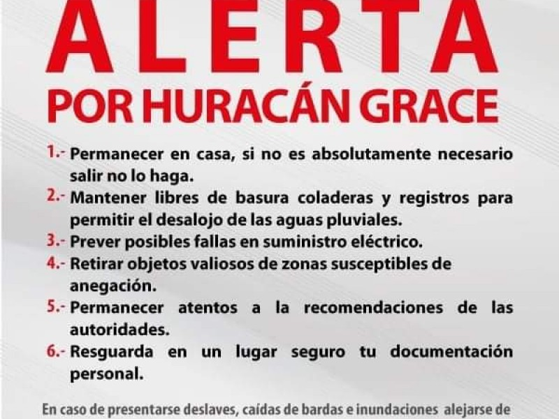 Emite alerta Toluca por Grace