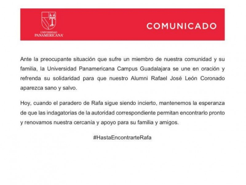 Emite UP comunicado por desaparición de Rafael León