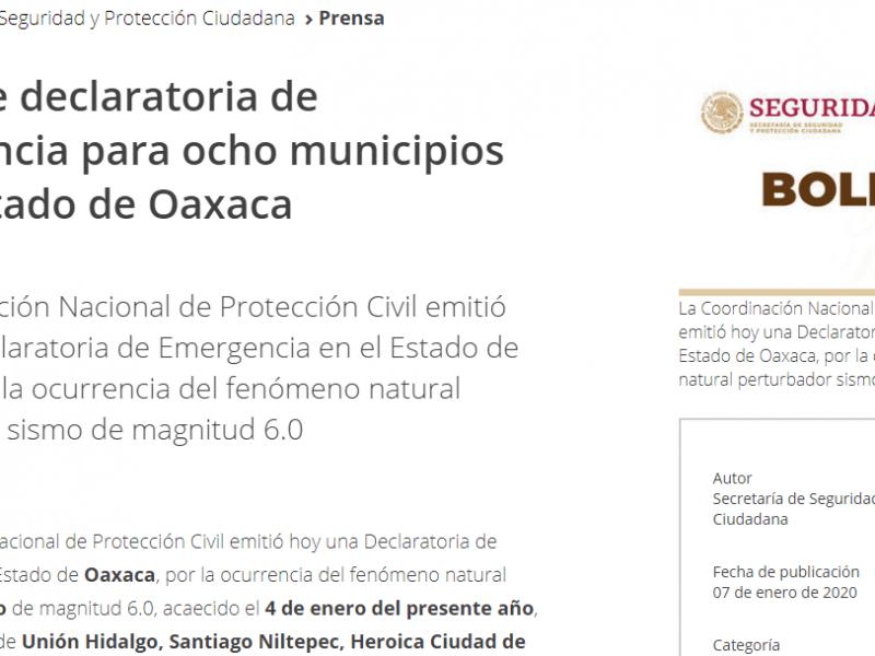 Emiten Declaratoria de Emergencia a ocho municipios