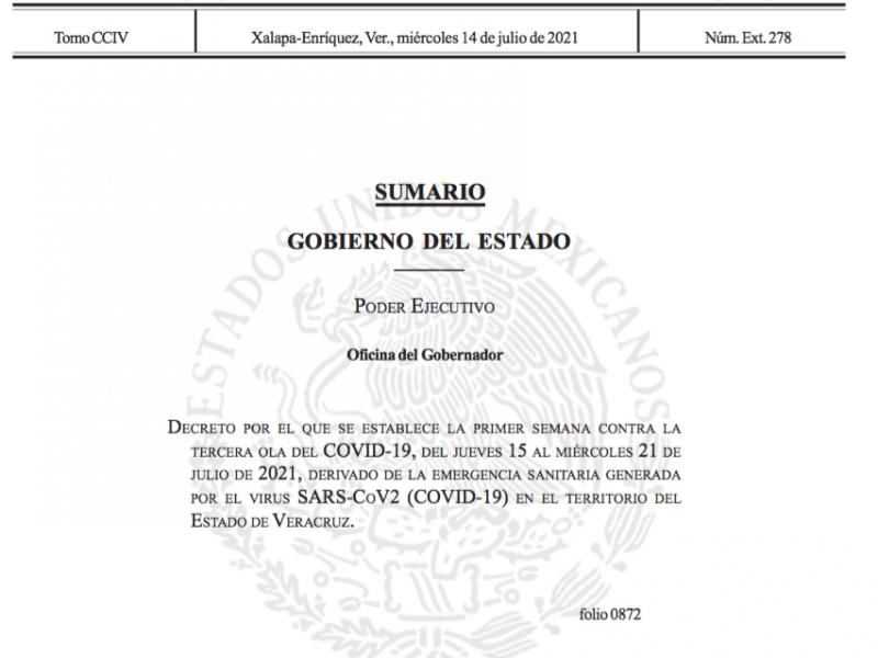 Emiten Decreto Estatal ante Tercera Ola de Covid19