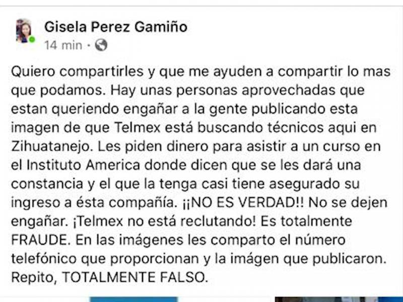 Empleados de Telmex alertan por usurpación para estafar