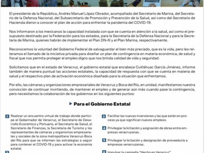 Empresarios Veracruzanos piden un plan de protección al empleo