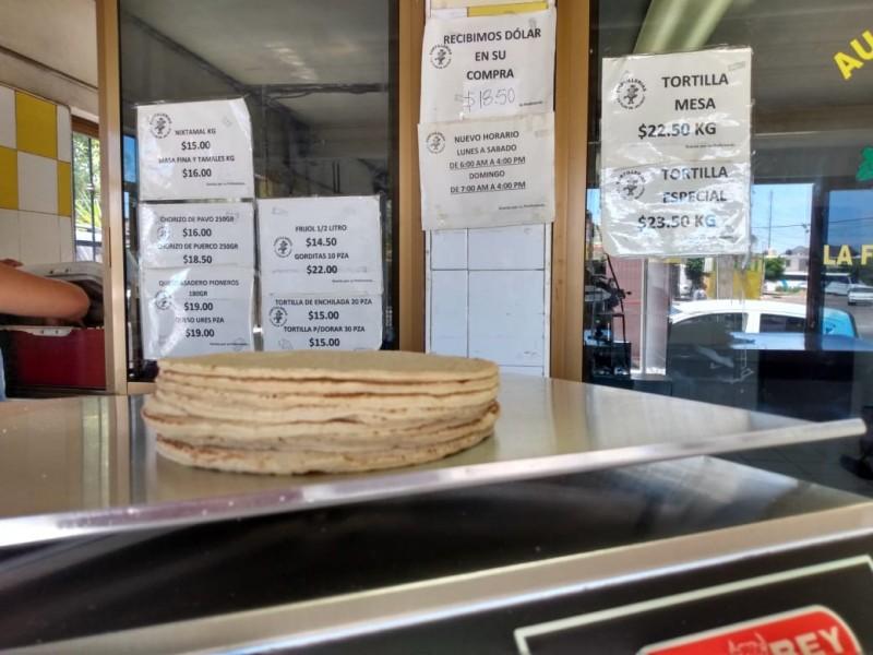 En aumento costo de tortilla de maíz