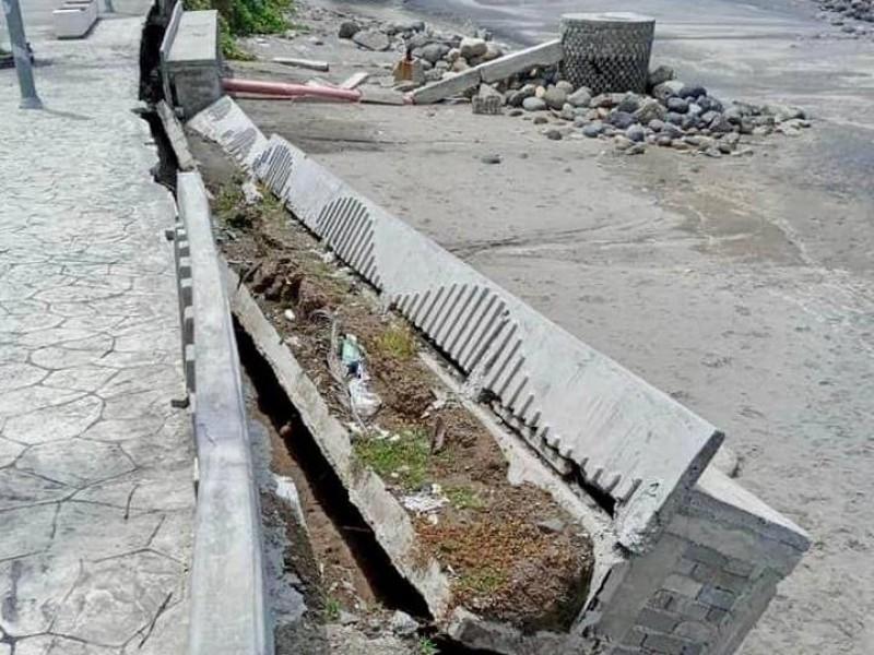 En riesgo habitantes de Puerto Madero ante colapso de malecón