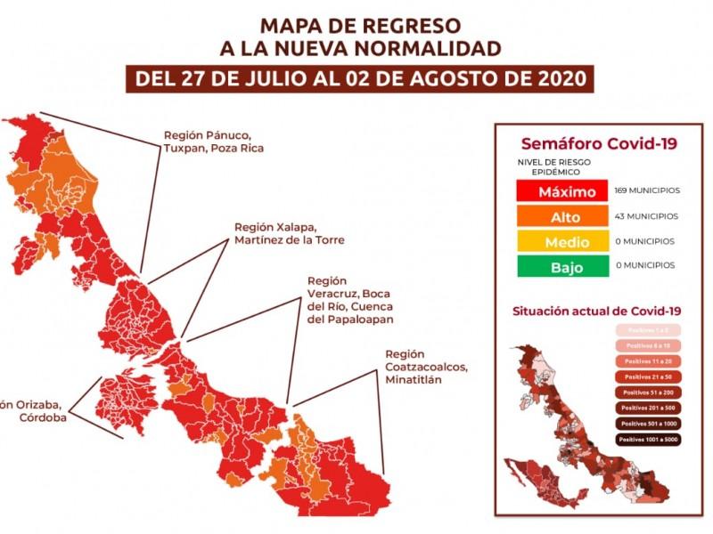 En Riesgo Maximo de contagio 169 municipios veracruzanos