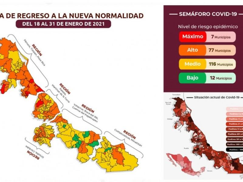 En Veracruz, siete municipios en Semáforo Rojo