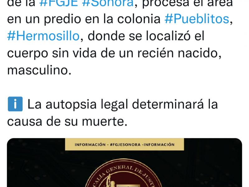 Encuentran bebé sin vida en Hermosillo
