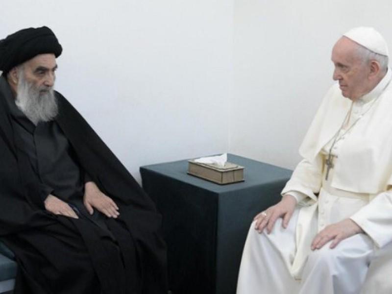 Encuentro entre el papa Francisco y el ayatolá Al Sistani