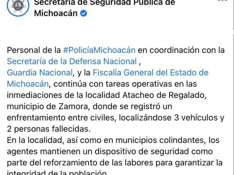 Enfrentamiento en Zamora deja como saldo dos muertos