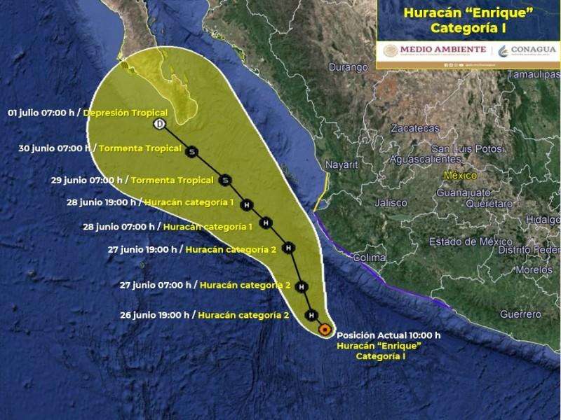 Enrique se convierte en huracán categoría I
