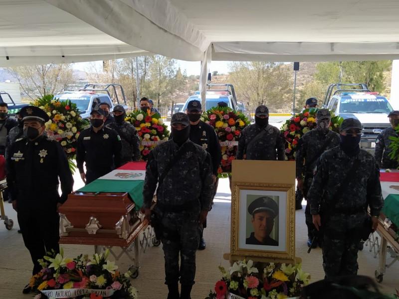 Entre lágrimas despiden a policías asesinados a manos de delincuentes