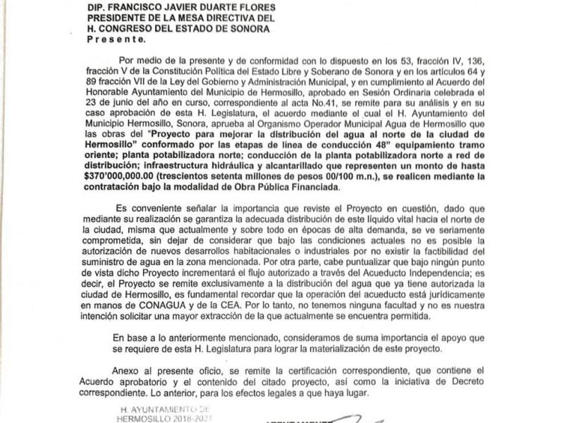 Envía alcaldesa proyecto del acuaférico al Congreso para su autorización