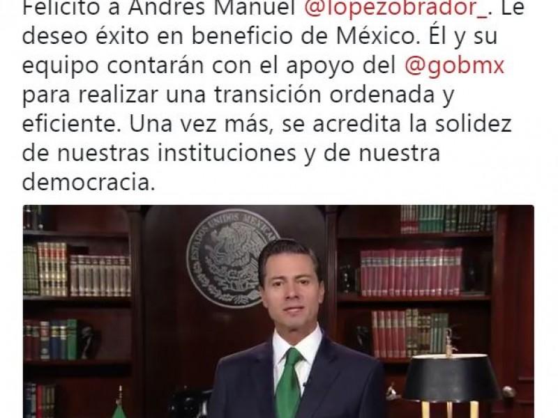 EPN felicita a AMLO y asegura transición ordenada
