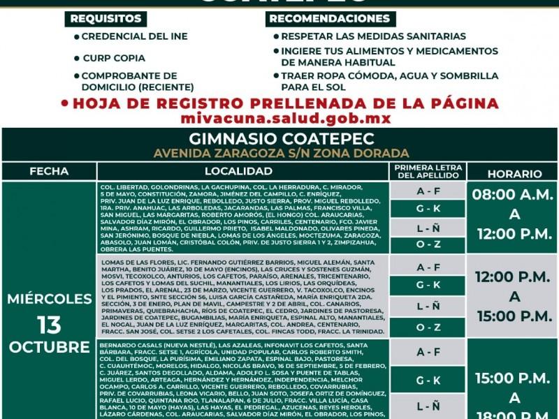 Esta semana vacunarán a grupo de 18-29 en Coatepec