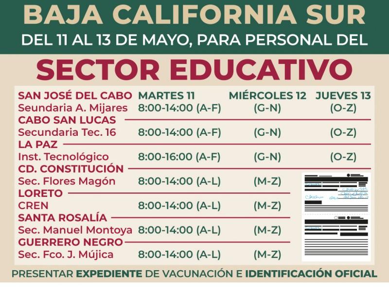 Este martes comenzará vacunación COVID-19 para personal educativo en BCS