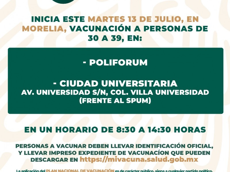 Este martes inicia vacunación de 30-39 años en Morelia