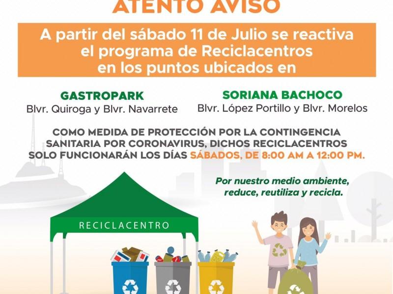 Este sábado reinician actividades los reciclacentros