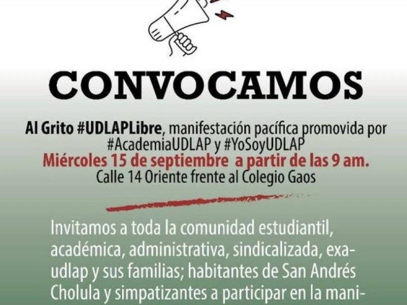 Estudiantes de UDLAP convocan a otra manifestación