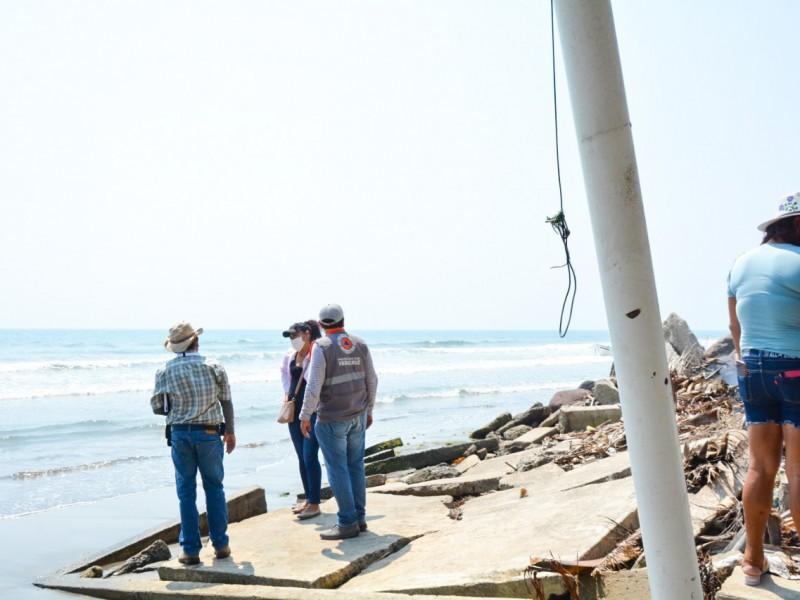 Evalúa PC erosión en zona costera de Alvarado